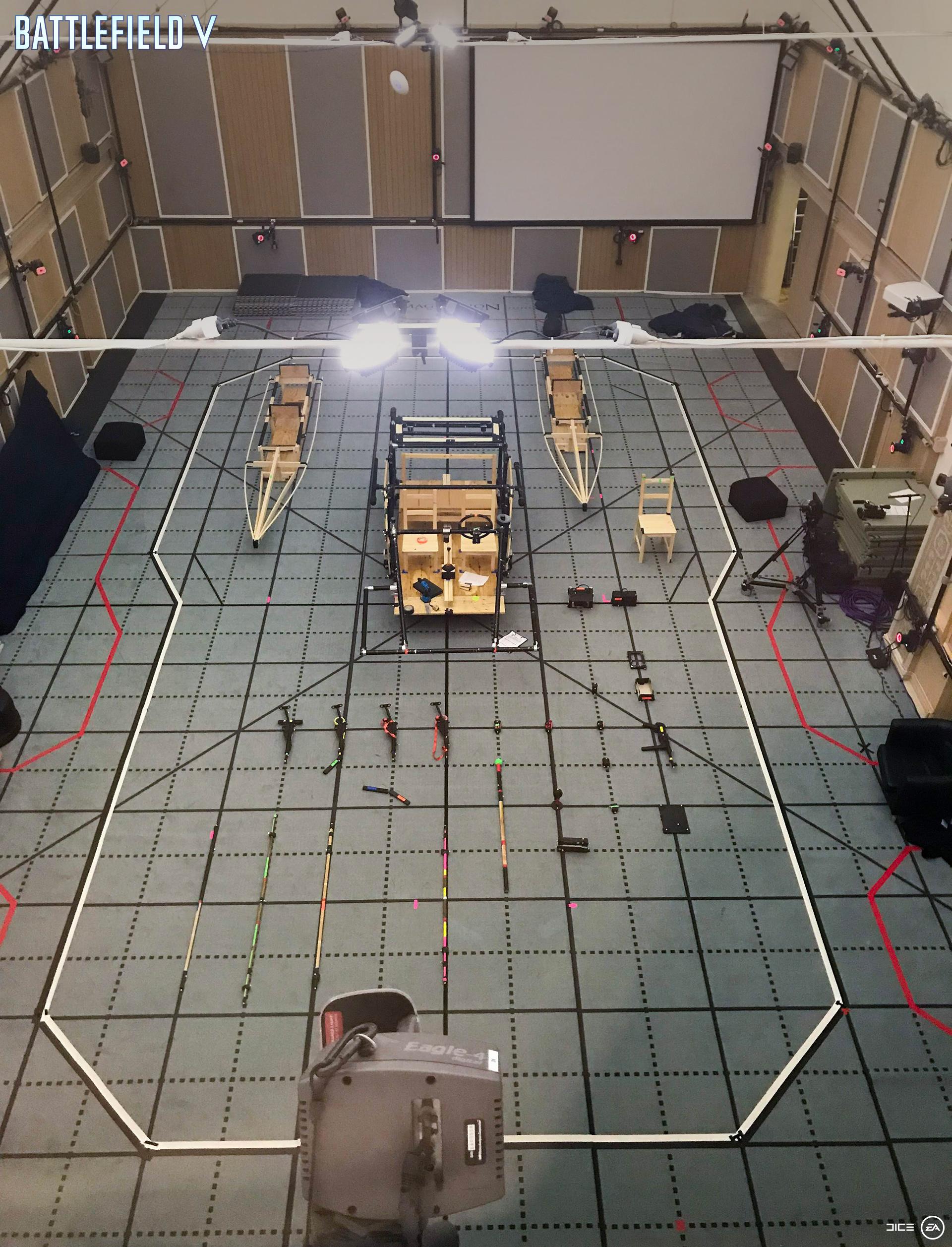 Le studio de capture de mouvement de Goodbye Kansas Studios, dans la ville suédoise d'Uppsala, pendant le développement de Sous aucun drapeau. (Photo : EA / Pelle Hallert)